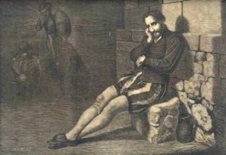 """Сервантес в тюрьме"" - гравюра Barneto из мадридского издания ""Дон Кихота"" 1877 года (Madrid: Biblioteca Universal, 1877)."