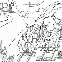 The train engine Percy and Thomas looking at the castle on the hill coloring pages